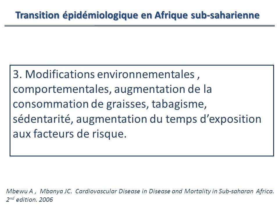 3. Modifications environnementales, comportementales, augmentation de la consommation de graisses, tabagisme, sédentarité, augmentation du temps dexpo