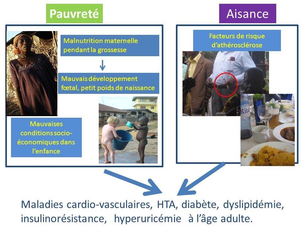 Maladies cardio-vasculaires, HTA, diabète, dyslipidémie, insulinorésistance, hyperuricémie à lâge adulte. PauvretéAisance Malnutrition maternelle pend