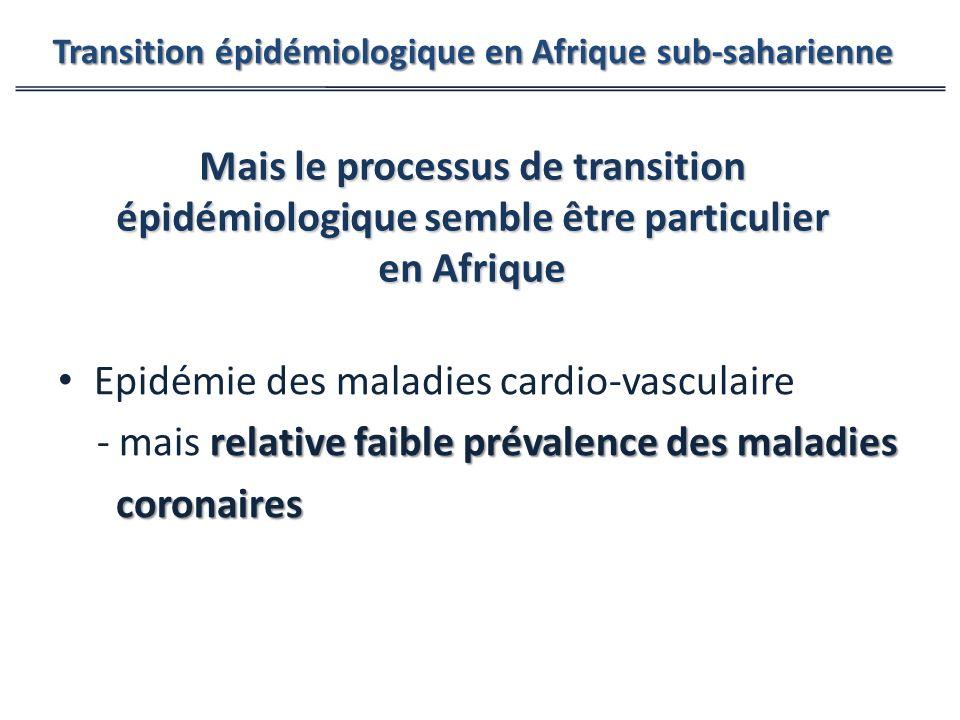Epidémie des maladies cardio-vasculaire relative faible prévalence des maladies - mais relative faible prévalence des maladies coronaires coronaires Transition épidémiologique en Afrique sub-saharienne Mais le processus de transition épidémiologique semble être particulier en Afrique