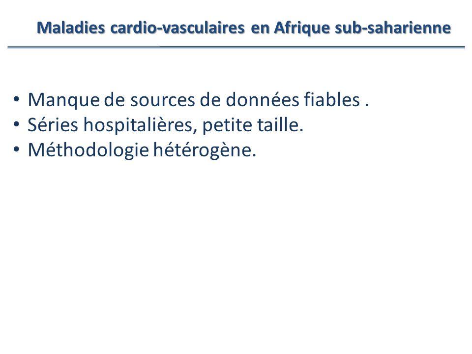 Manque de sources de données fiables. Séries hospitalières, petite taille. Méthodologie hétérogène. Maladies cardio-vasculaires en Afrique sub-saharie