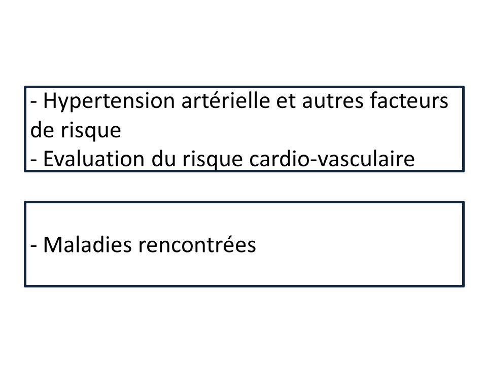 - Hypertension artérielle et autres facteurs de risque - Evaluation du risque cardio-vasculaire - Maladies rencontrées