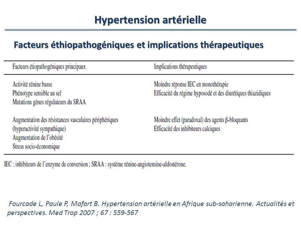 Hypertension artérielle Fourcade L, Paule P, Mafart B. Hypertension artérielle en Afrique sub-saharienne. Actualités et perspectives. Med Trop 2007 ;