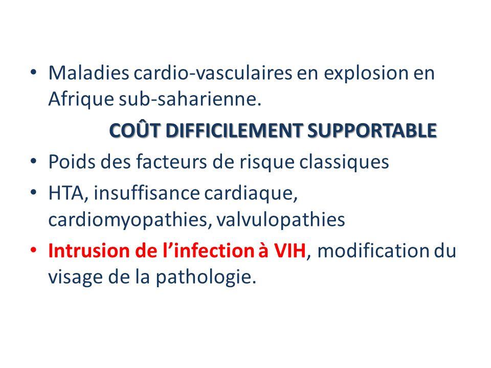 Maladies cardio-vasculaires en explosion en Afrique sub-saharienne. COÛT DIFFICILEMENT SUPPORTABLE Poids des facteurs de risque classiques HTA, insuff