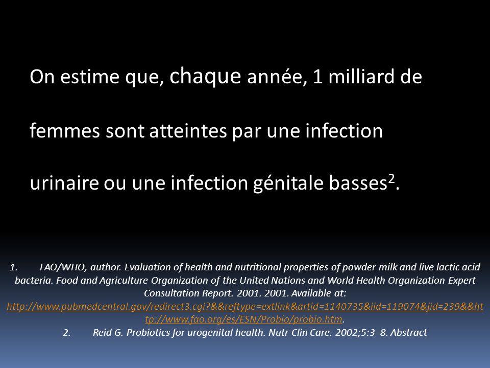 On estime que, chaque année, 1 milliard de femmes sont atteintes par une infection urinaire ou une infection génitale basses 2. 1. FAO/WHO, author. Ev