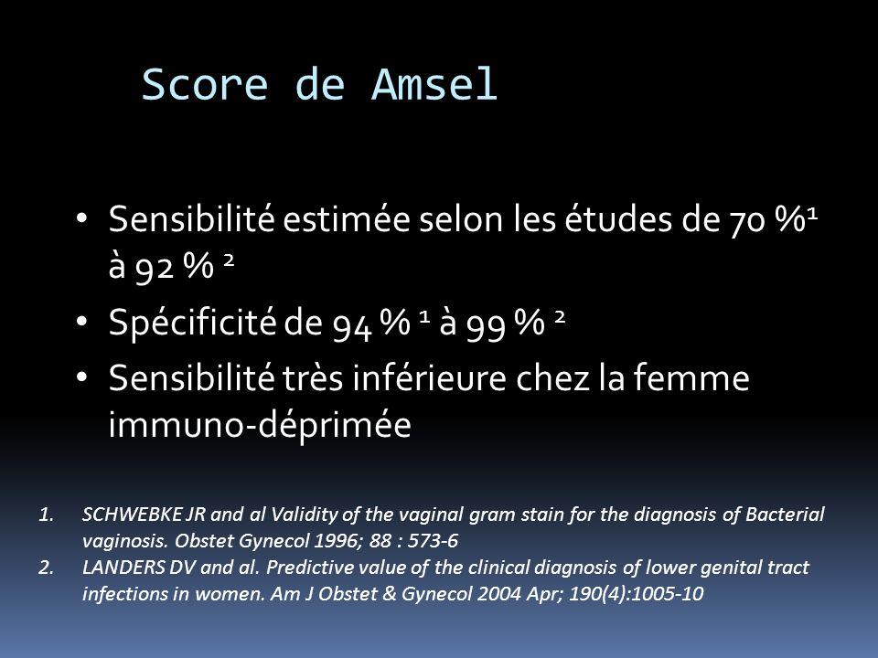Sensibilité estimée selon les études de 70 % 1 à 92 % 2 Spécificité de 94 % 1 à 99 % 2 Sensibilité très inférieure chez la femme immuno-déprimée 1.SCH