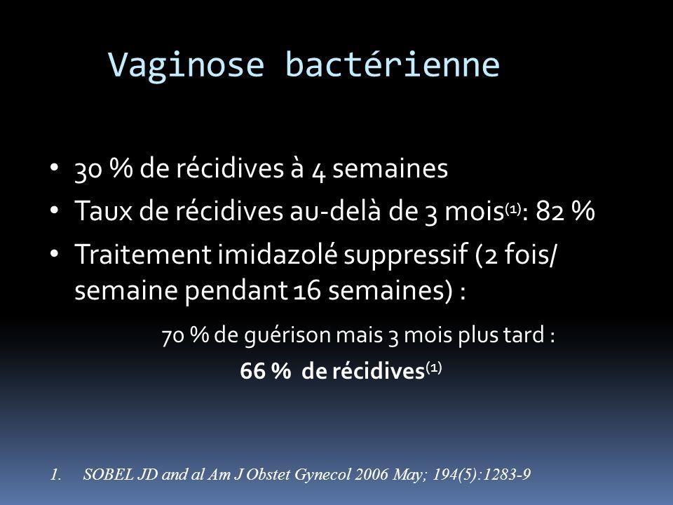 30 % de récidives à 4 semaines Taux de récidives au-delà de 3 mois (1) : 82 % Traitement imidazolé suppressif (2 fois/ semaine pendant 16 semaines) :