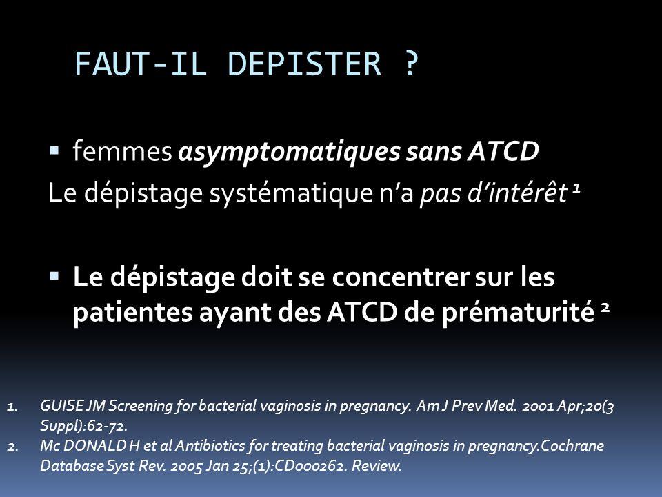 FAUT-IL DEPISTER ? femmes asymptomatiques sans ATCD Le dépistage systématique na pas dintérêt 1 Le dépistage doit se concentrer sur les patientes ayan