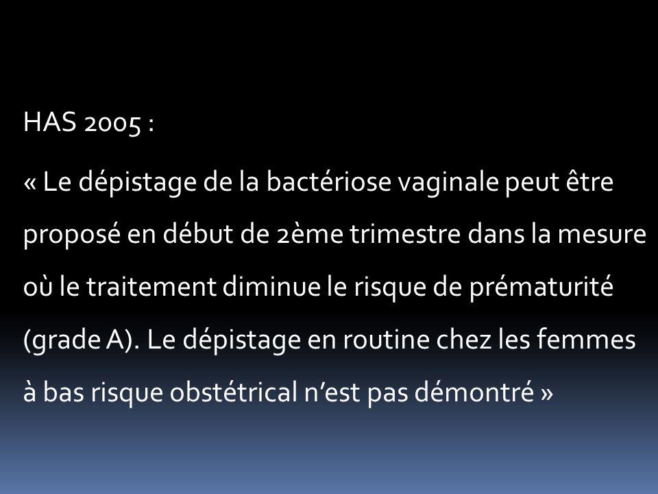 HAS 2005 : « Le dépistage de la bactériose vaginale peut être proposé en début de 2ème trimestre dans la mesure où le traitement diminue le risque de