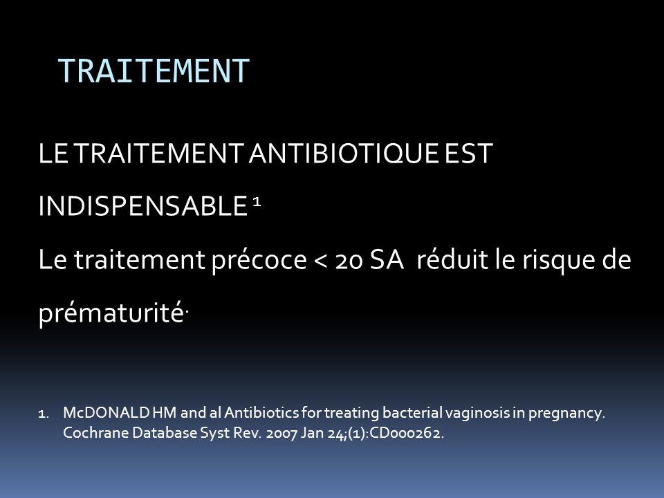 TRAITEMENT LE TRAITEMENT ANTIBIOTIQUE EST INDISPENSABLE 1 Le traitement précoce < 20 SA réduit le risque de prématurité. 1.McDONALD HM and al Antibiot