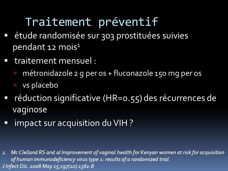 Traitement préventif étude randomisée sur 303 prostituées suivies pendant 12 mois 1 traitement mensuel : métronidazole 2 g per os + fluconazole 150 mg