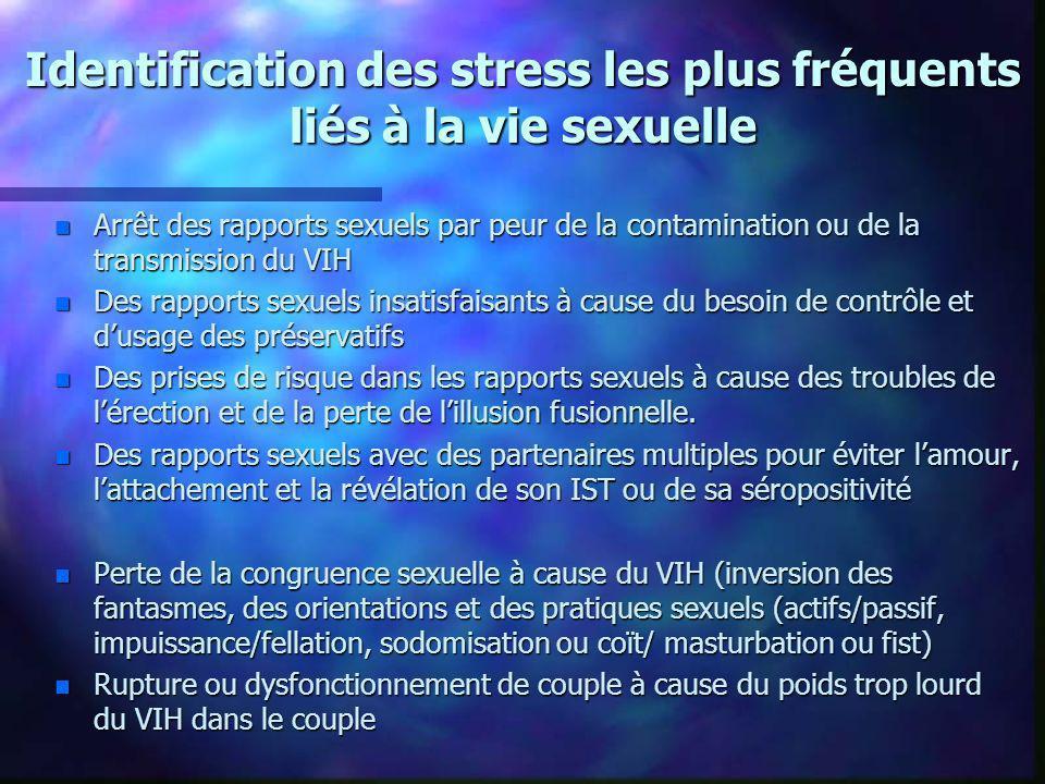 Identification des stress les plus fréquents liés à la vie sexuelle n Arrêt des rapports sexuels par peur de la contamination ou de la transmission du