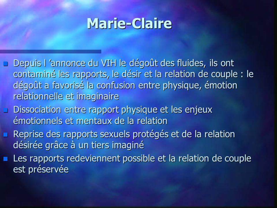 Marie-Claire n Depuis l annonce du VIH le dégoût des fluides, ils ont contaminé les rapports, le désir et la relation de couple : le dégoût a favorisé