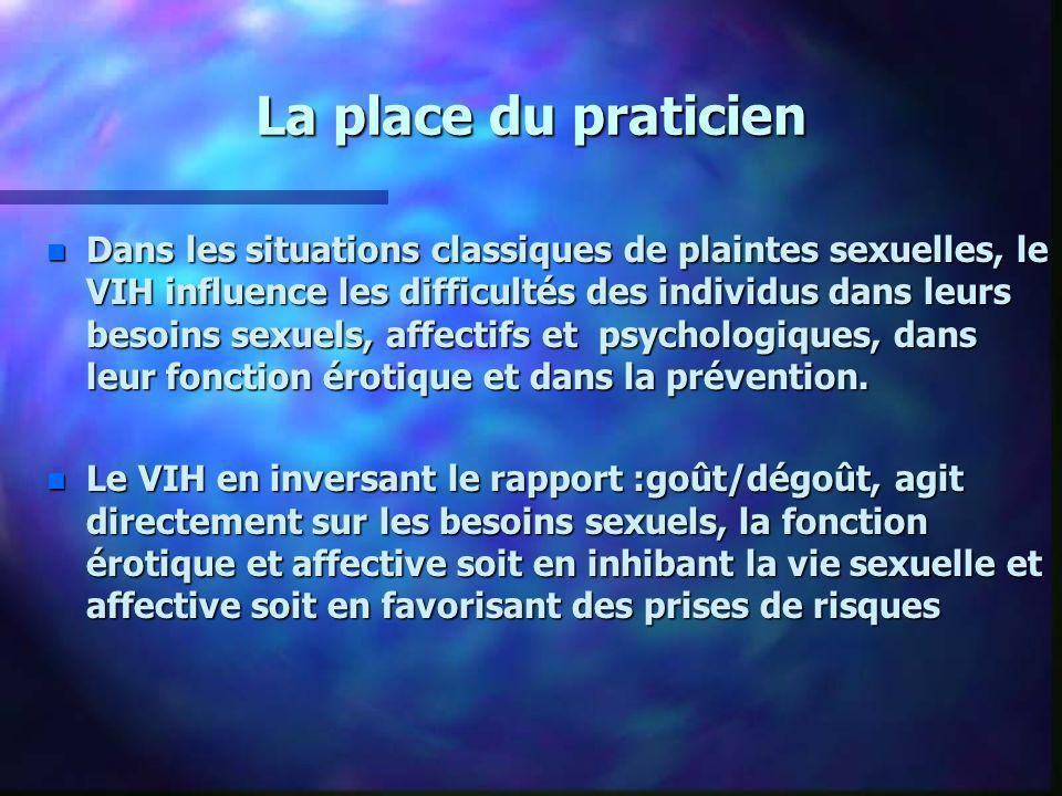 La place du praticien n Dans les situations classiques de plaintes sexuelles, le VIH influence les difficultés des individus dans leurs besoins sexuel