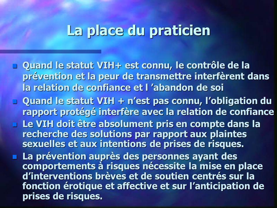 La place du praticien n Quand le statut VIH+ est connu, le contrôle de la prévention et la peur de transmettre interfèrent dans la relation de confian