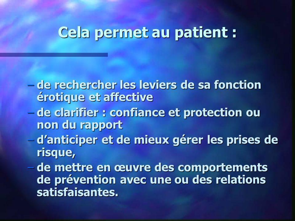 Cela permet au patient : –de rechercher les leviers de sa fonction érotique et affective –de clarifier : confiance et protection ou non du rapport –da