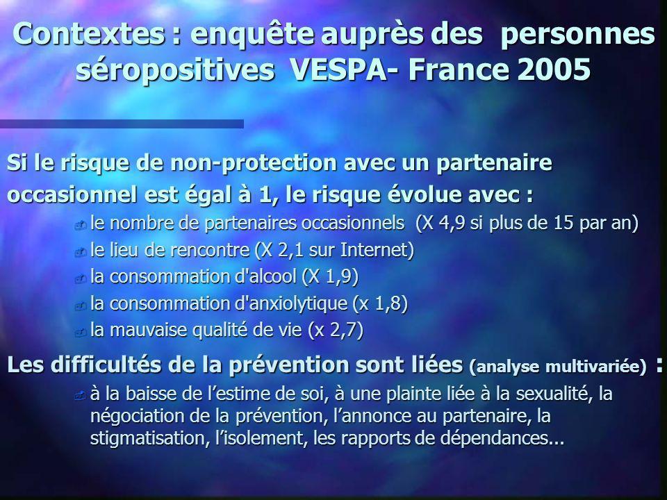 Contextes : enquête auprès des personnes séropositives VESPA- France 2005 Si le risque de non-protection avec un partenaire occasionnel est égal à 1,