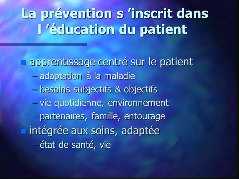 La prévention s inscrit dans l éducation du patient La prévention s inscrit dans l éducation du patient n apprentissage centré sur le patient –adaptat