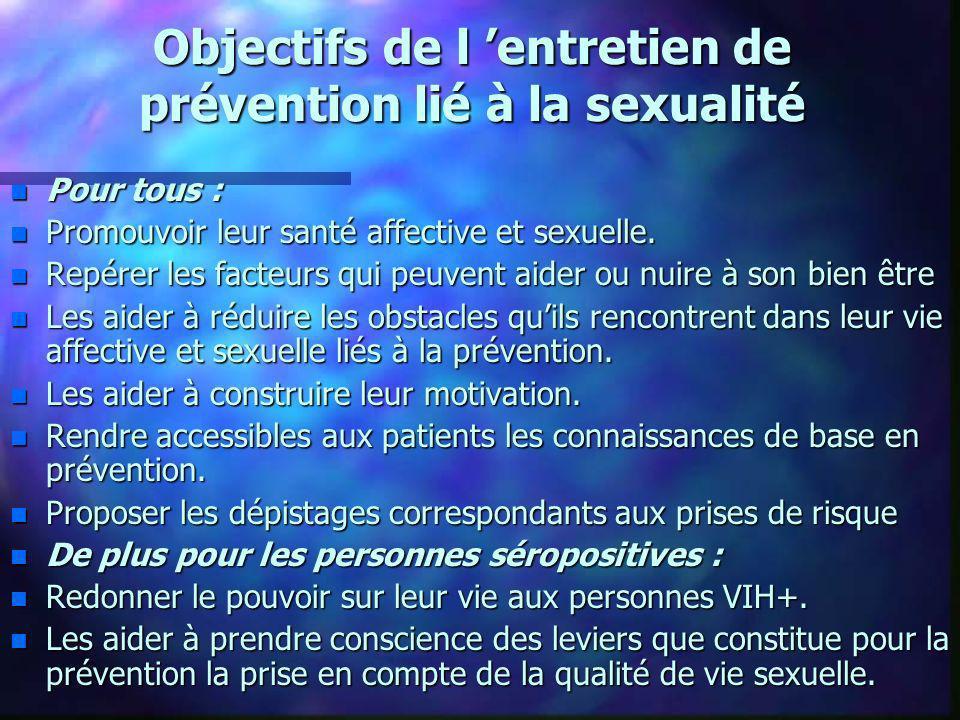 Objectifs de l entretien de prévention lié à la sexualité n Pour tous : n Promouvoir leur santé affective et sexuelle. n Repérer les facteurs qui peuv
