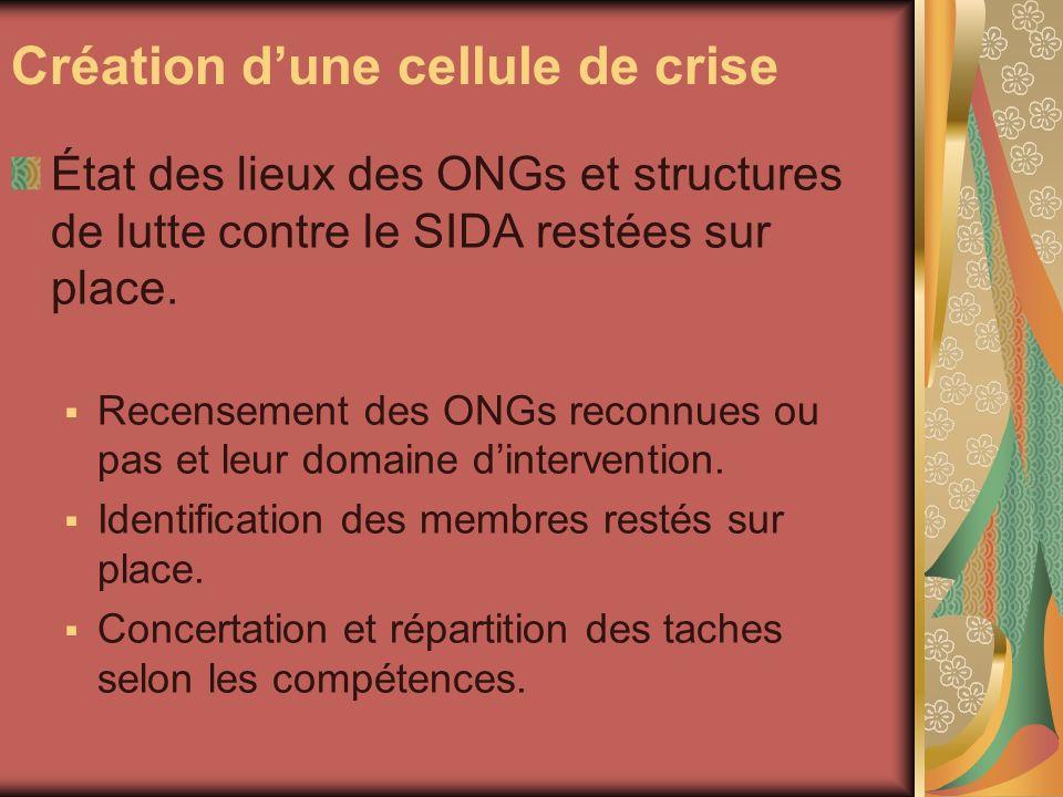 Création dune cellule de crise État des lieux des ONGs et structures de lutte contre le SIDA restées sur place.