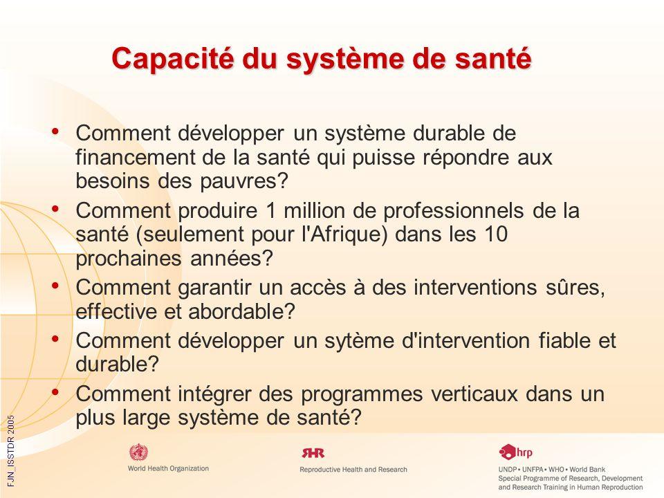 FJN_ISSTDR 2005 Capacité du système de santé Comment développer un système durable de financement de la santé qui puisse répondre aux besoins des pauv