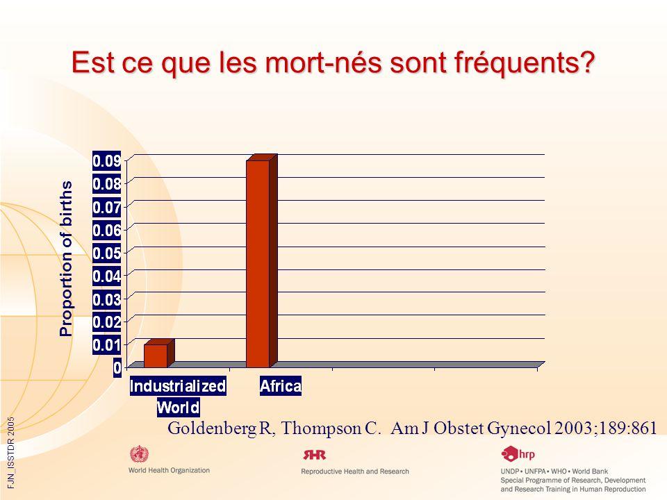 FJN_ISSTDR 2005 Est ce que les mort-nés sont fréquents? Goldenberg R, Thompson C. Am J Obstet Gynecol 2003;189:861 Proportion of births