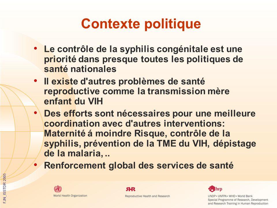 FJN_ISSTDR 2005 Contexte politique Le contrôle de la syphilis congénitale est une priorité dans presque toutes les politiques de santé nationales Il e