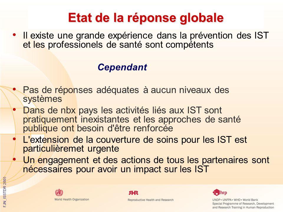 FJN_ISSTDR 2005 Etat de la réponse globale Il existe une grande expérience dans la prévention des IST et les professionels de santé sont compétents Ce