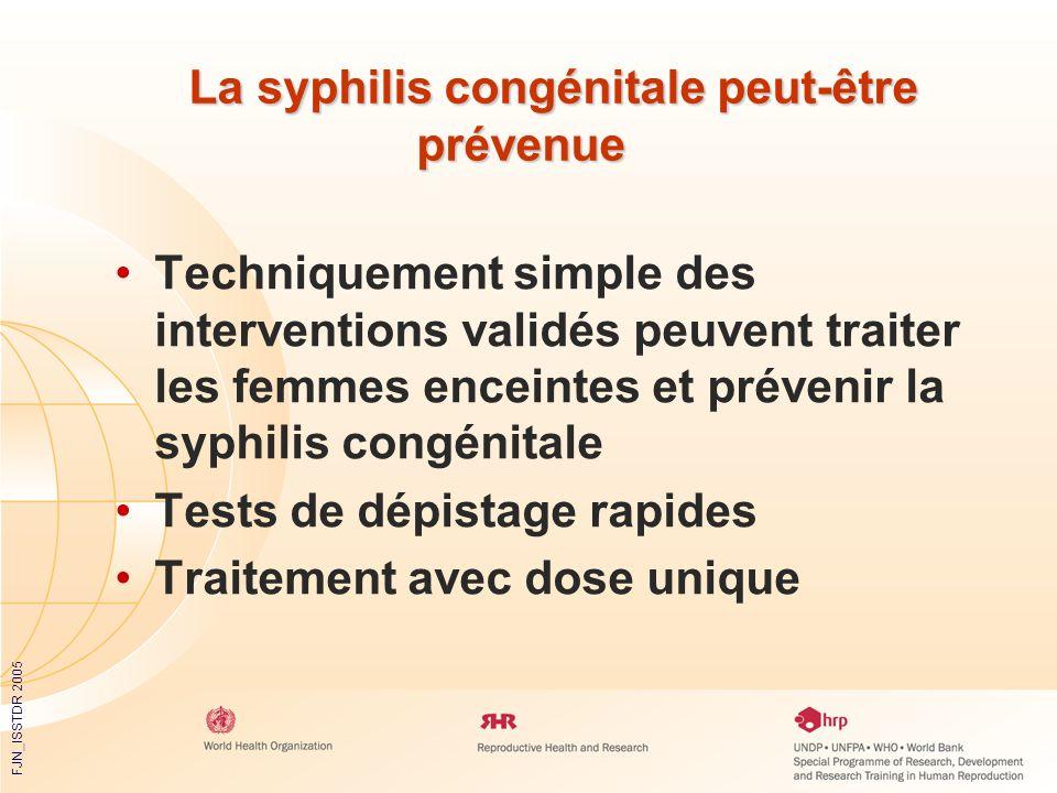 FJN_ISSTDR 2005 La syphilis congénitale peut-être prévenue La syphilis congénitale peut-être prévenue Techniquement simple des interventions validés p