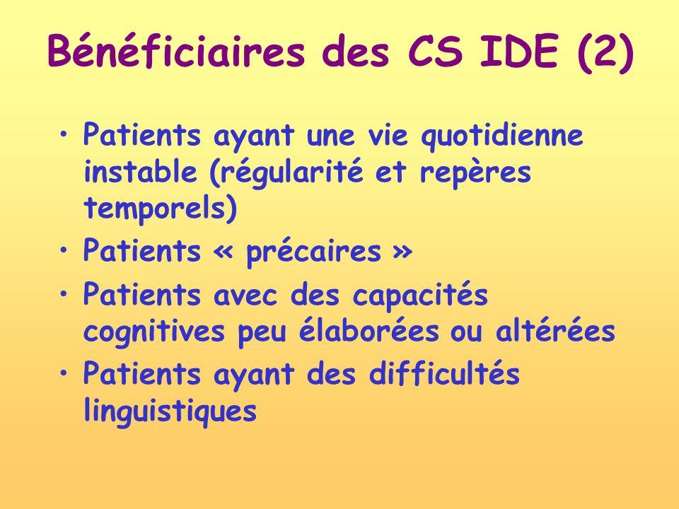 Patients ayant une vie quotidienne instable (régularité et repères temporels) Patients « précaires » Patients avec des capacités cognitives peu élaborées ou altérées Patients ayant des difficultés linguistiques Bénéficiaires des CS IDE (2)