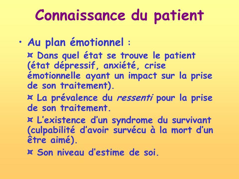 Connaissance du patient Au plan émotionnel : ¤ Dans quel état se trouve le patient (état dépressif, anxiété, crise émotionnelle ayant un impact sur la prise de son traitement).
