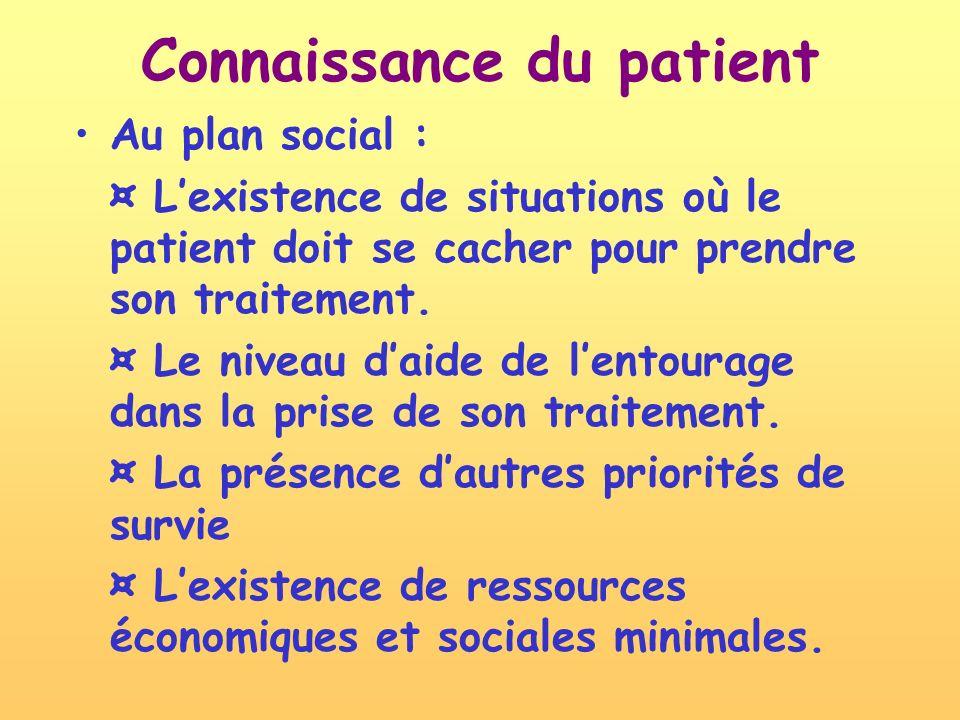 Au plan social : ¤ Lexistence de situations où le patient doit se cacher pour prendre son traitement. ¤ Le niveau daide de lentourage dans la prise de