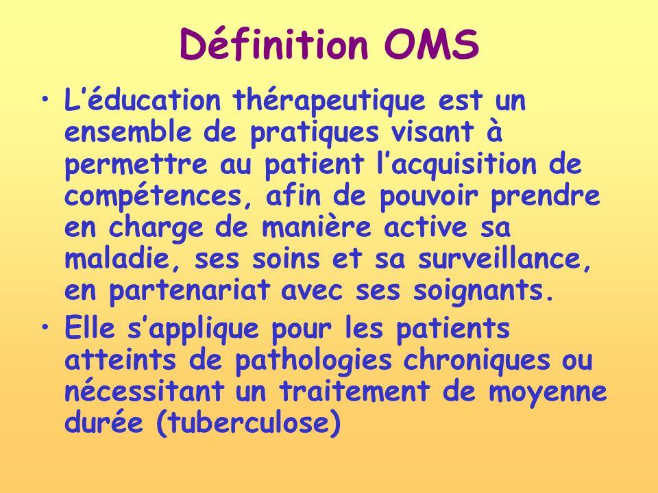 Définition OMS Léducation thérapeutique est un ensemble de pratiques visant à permettre au patient lacquisition de compétences, afin de pouvoir prendre en charge de manière active sa maladie, ses soins et sa surveillance, en partenariat avec ses soignants.