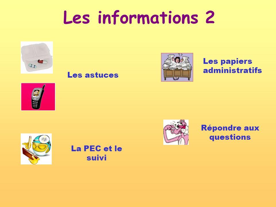 Les informations 2 Répondre aux questions Les papiers administratifs La PEC et le suivi Les astuces