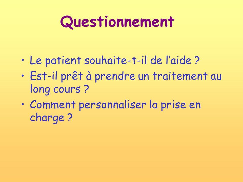 Questionnement Le patient souhaite-t-il de laide ? Est-il prêt à prendre un traitement au long cours ? Comment personnaliser la prise en charge ?