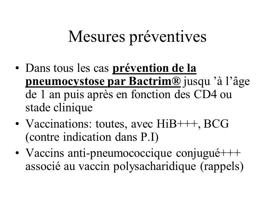 Mesures préventives Dans tous les cas prévention de la pneumocystose par Bactrim® jusqu à lâge de 1 an puis après en fonction des CD4 ou stade cliniqu