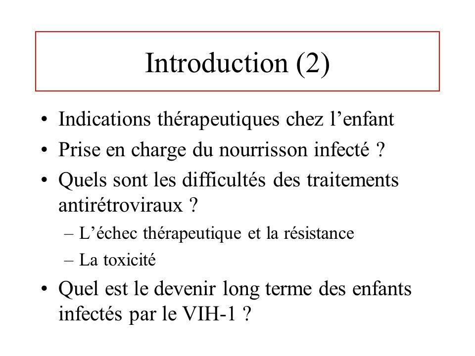 Introduction (2) Indications thérapeutiques chez lenfant Prise en charge du nourrisson infecté ? Quels sont les difficultés des traitements antirétrov