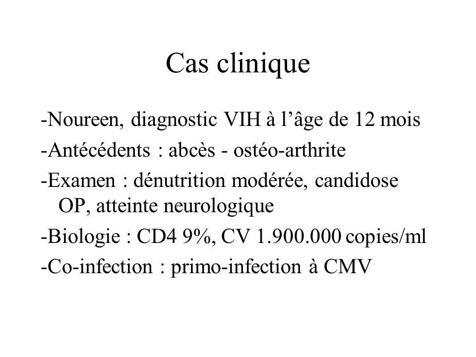 Cas clinique -Noureen, diagnostic VIH à lâge de 12 mois -Antécédents : abcès - ostéo-arthrite -Examen : dénutrition modérée, candidose OP, atteinte ne