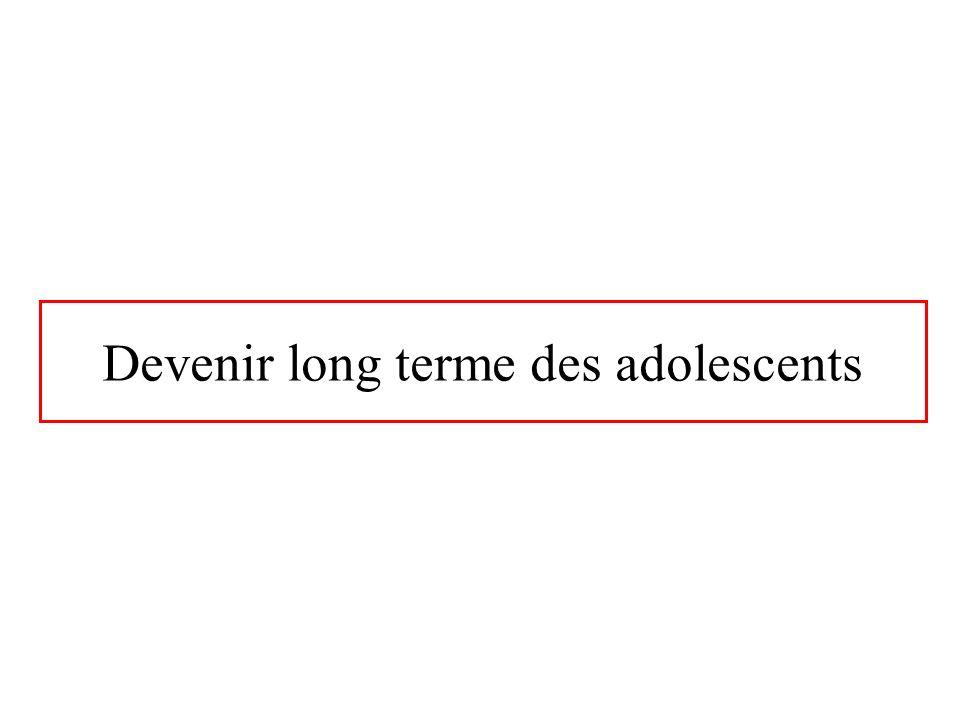 Devenir long terme des adolescents