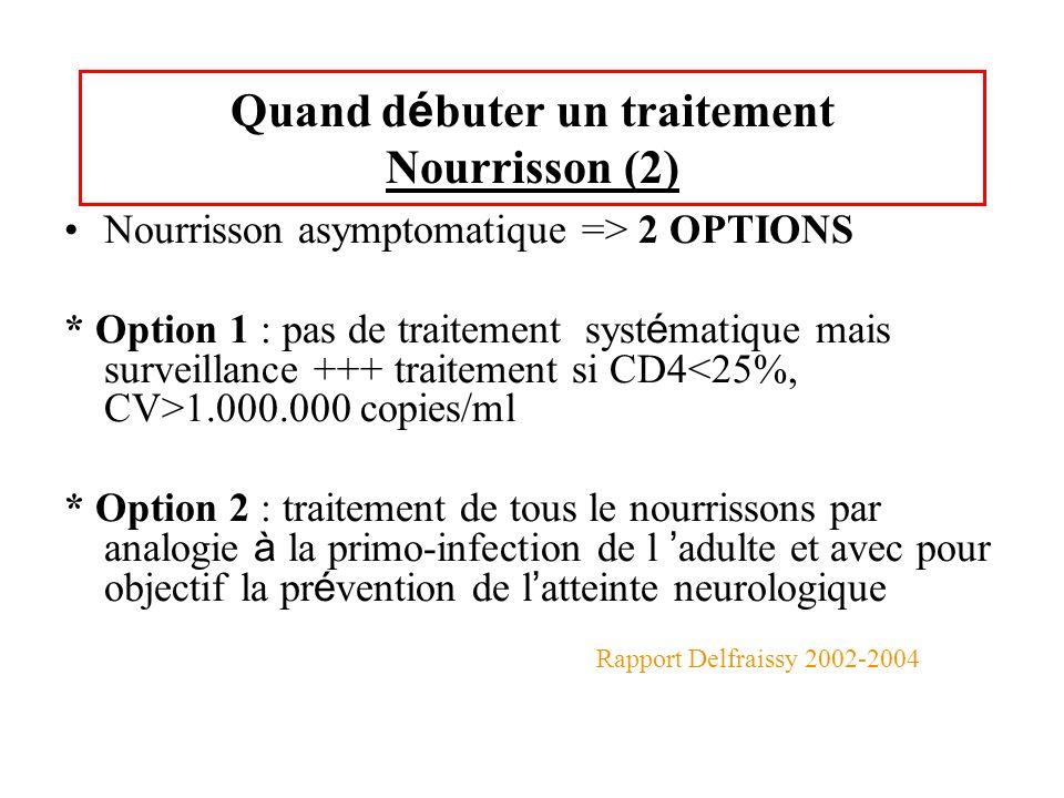 Quand d é buter un traitement Nourrisson (2) Nourrisson asymptomatique => 2 OPTIONS * Option 1 : pas de traitement syst é matique mais surveillance ++