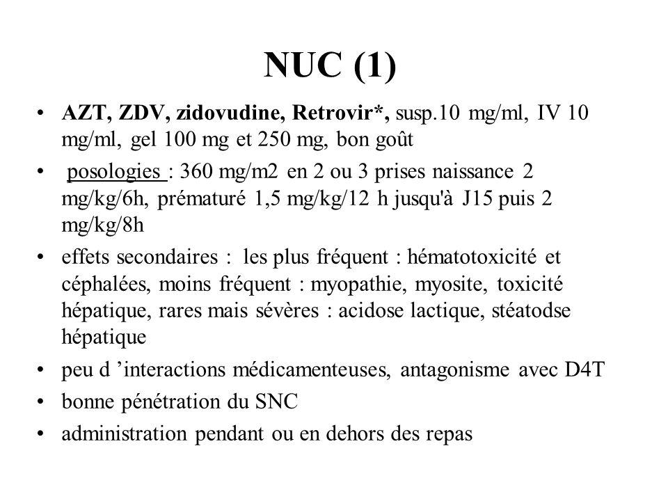 NUC (1) AZT, ZDV, zidovudine, Retrovir*, susp.10 mg/ml, IV 10 mg/ml, gel 100 mg et 250 mg, bon goût posologies : 360 mg/m2 en 2 ou 3 prises naissance