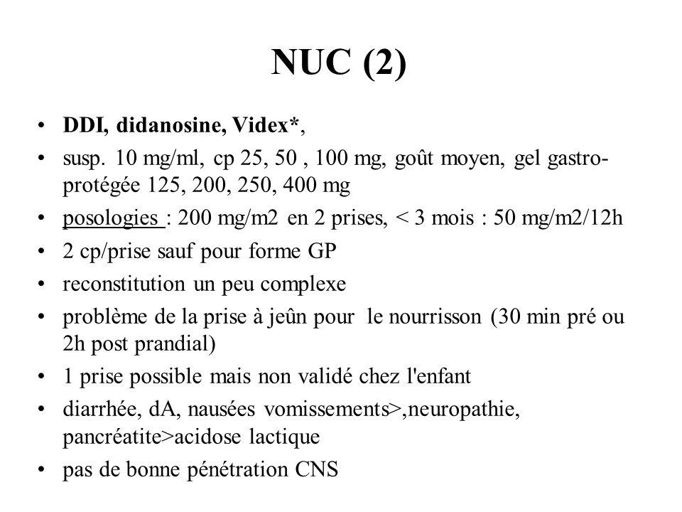 NUC (2) DDI, didanosine, Videx*, susp. 10 mg/ml, cp 25, 50, 100 mg, goût moyen, gel gastro- protégée 125, 200, 250, 400 mg posologies : 200 mg/m2 en 2