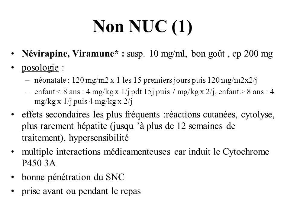 Non NUC (1) Névirapine, Viramune* : susp. 10 mg/ml, bon goût, cp 200 mg posologie : –néonatale : 120 mg/m2 x 1 les 15 premiers jours puis 120 mg/m2x2/
