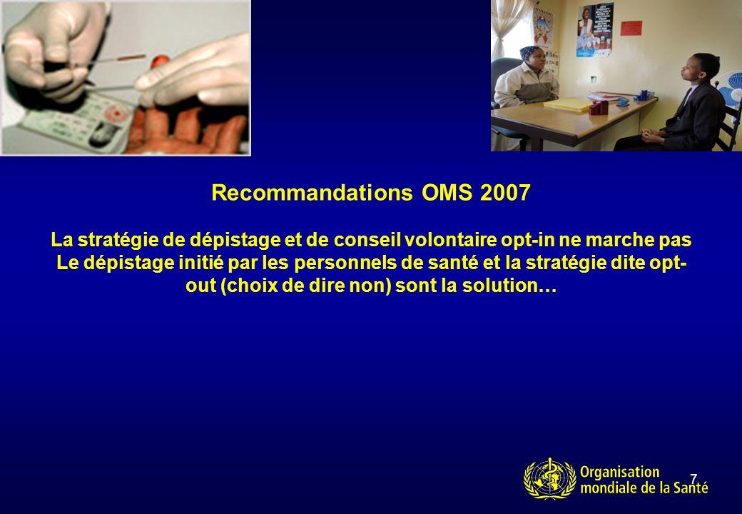 7 Recommandations OMS 2007 La stratégie de dépistage et de conseil volontaire opt-in ne marche pas Le dépistage initié par les personnels de santé et la stratégie dite opt- out (choix de dire non) sont la solution…