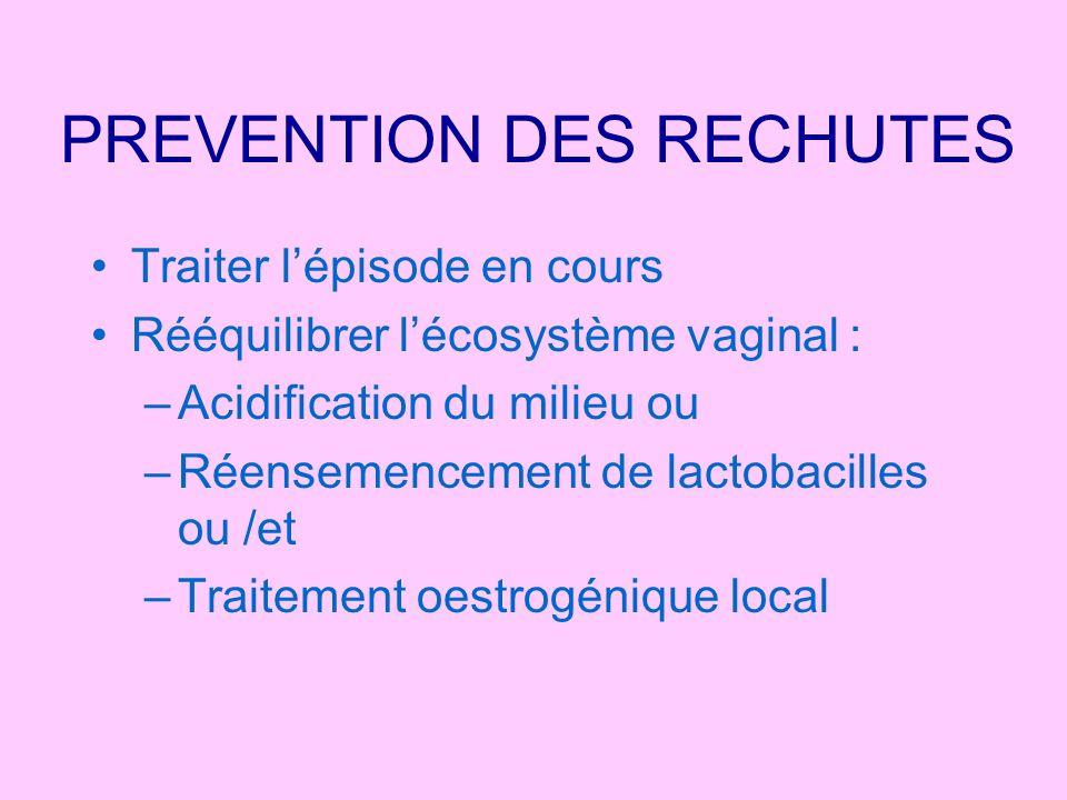 PREVENTION DES RECHUTES Traiter lépisode en cours Rééquilibrer lécosystème vaginal : –Acidification du milieu ou –Réensemencement de lactobacilles ou