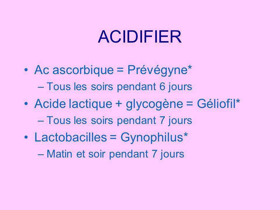 ACIDIFIER Ac ascorbique = Prévégyne* –Tous les soirs pendant 6 jours Acide lactique + glycogène = Géliofil* –Tous les soirs pendant 7 jours Lactobacil