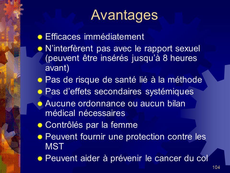 104 Avantages Efficaces immédiatement Ninterfèrent pas avec le rapport sexuel (peuvent être insérés jusquà 8 heures avant) Pas de risque de santé lié