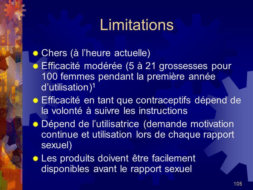 105 Limitations Chers (à lheure actuelle) Efficacité modérée (5 à 21 grossesses pour 100 femmes pendant la première année dutilisation) 1 Efficacité e