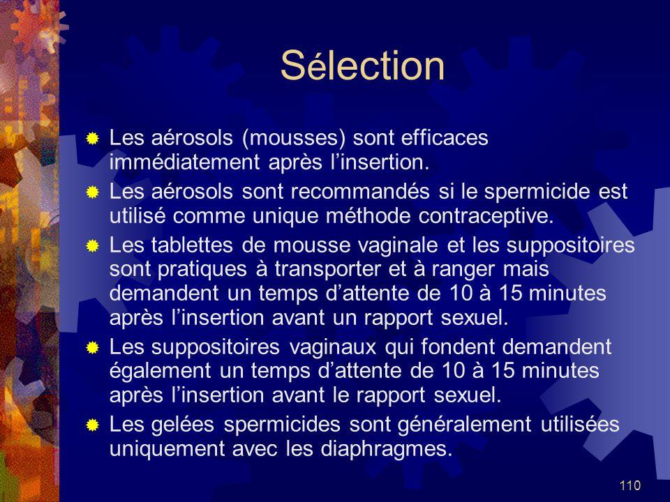 110 S é lection Les aérosols (mousses) sont efficaces immédiatement après linsertion. Les aérosols sont recommandés si le spermicide est utilisé comme
