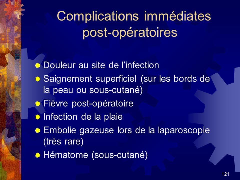 121 Complications immédiates post-opératoires Douleur au site de linfection Saignement superficiel (sur les bords de la peau ou sous-cutané) Fièvre po