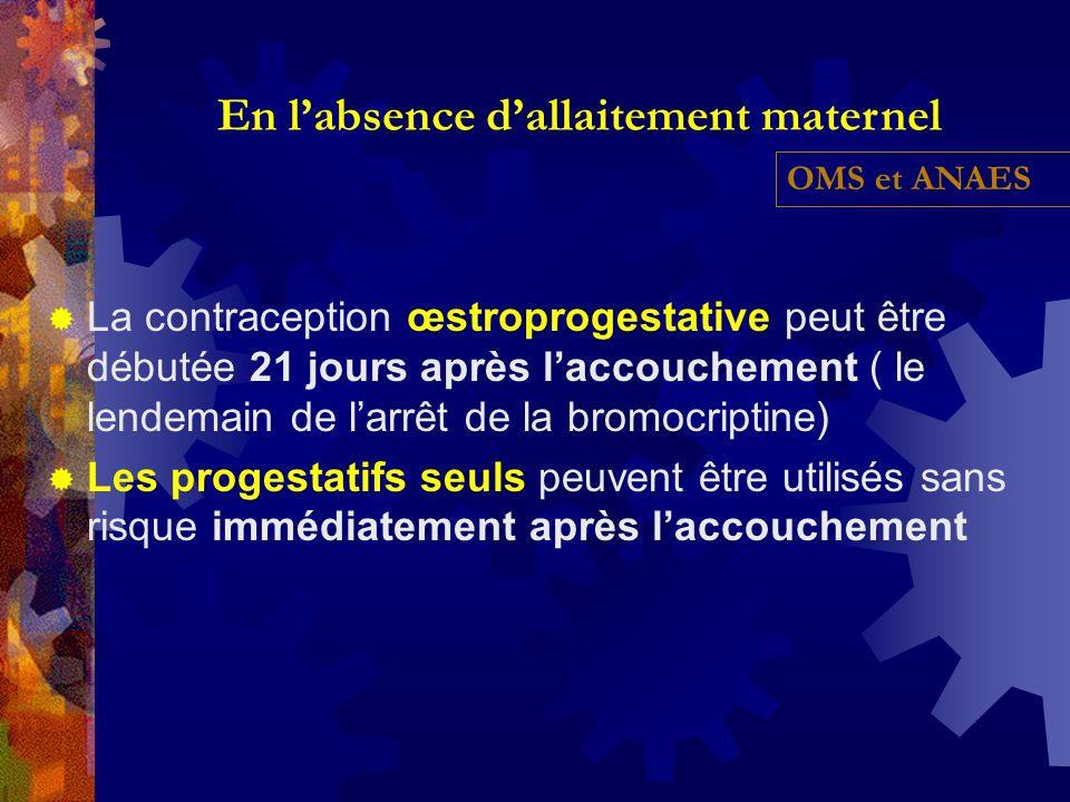 La contraception œstroprogestative peut être débutée 21 jours après laccouchement ( le lendemain de larrêt de la bromocriptine) Les progestatifs seuls